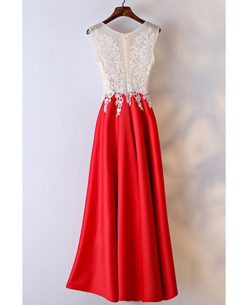 White And Red Lace Long Formal Dress For Women #MYX18176 - GemGrace.com