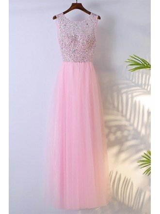 Cute Pink Long Sleeveless Prom Dress With Bling Sequins