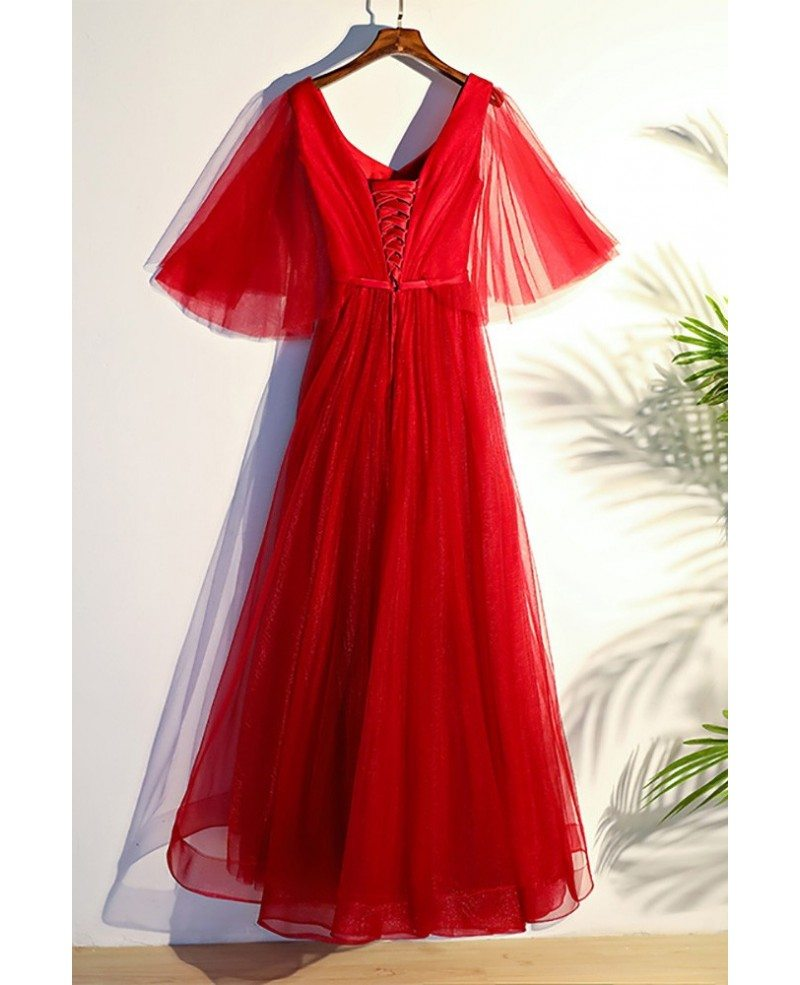 Flowy red butterfly sleeves long formal party dress for Flowy wedding dress with sleeves