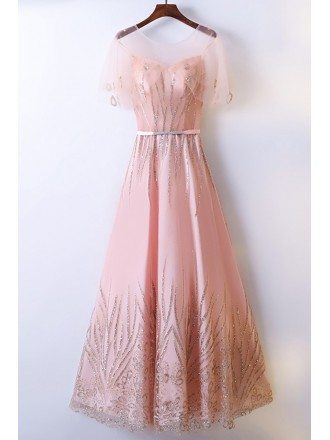 Elegant Long Pink A Line Prom Dress Sequins With Illusion Neckline