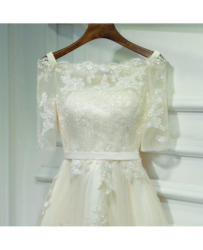 Champagne Lace Short Dress