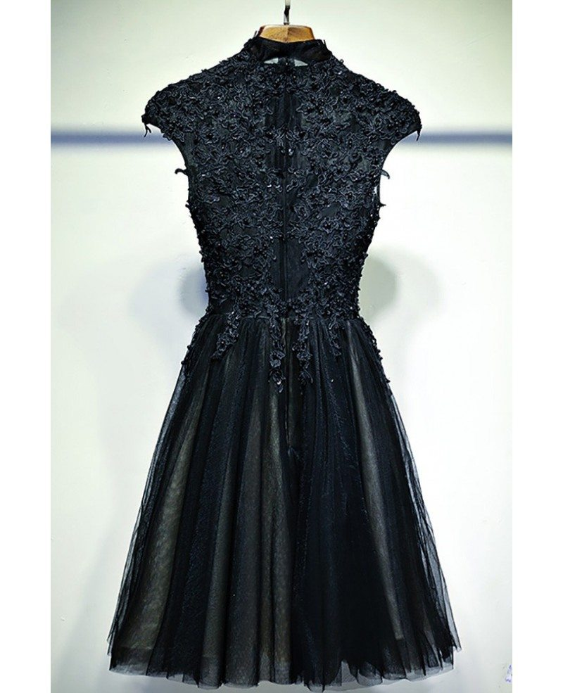 vintage chic short black lace prom dress with cap sleeves