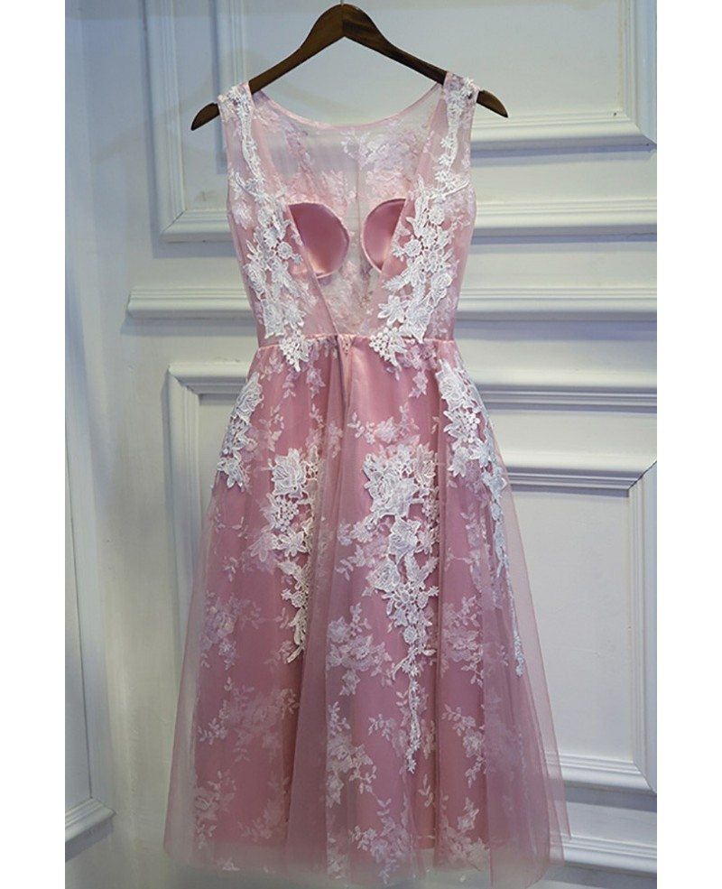 Cute White And Pink Lace Short Homecoming Party Dress ...