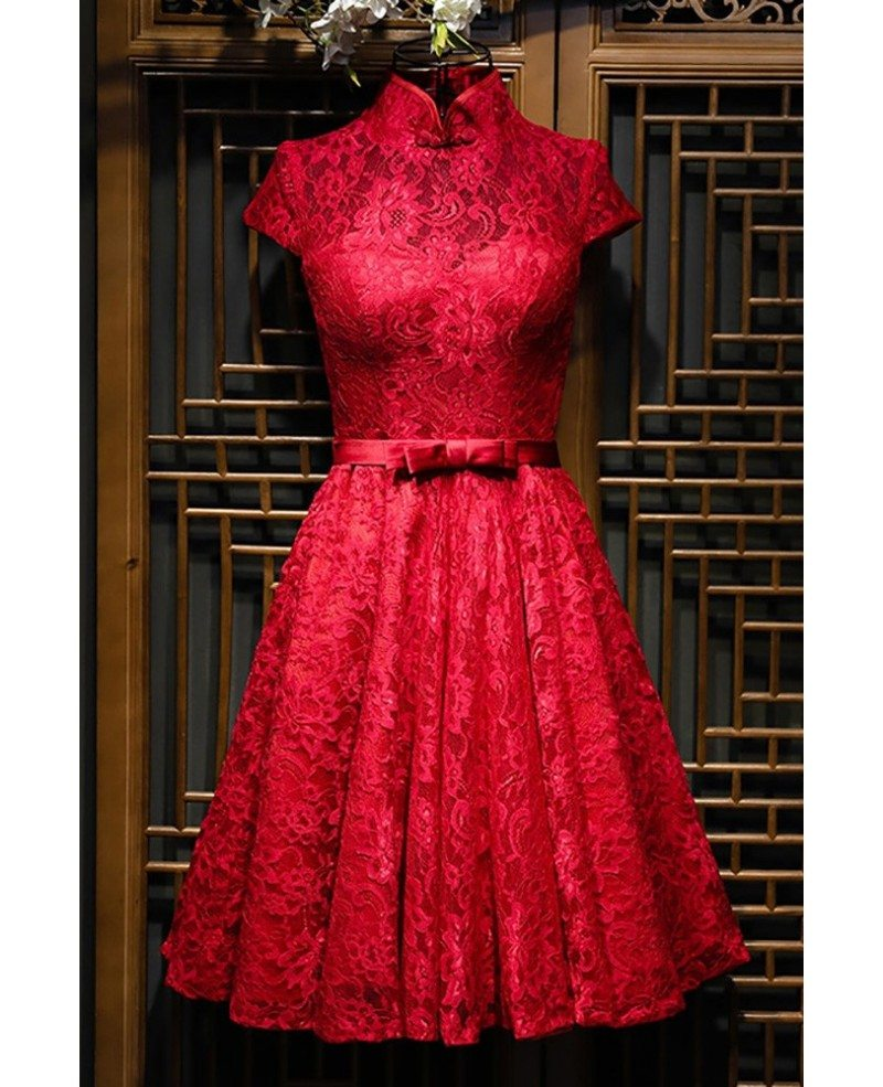 Chinese Burgundy Qipao Style Short Reception Party Dress With ...