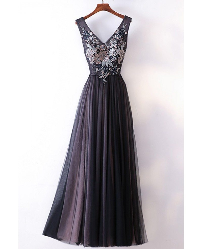Different Long Black V-neck Cheap Prom Dress With Lace #MYX18216 ...