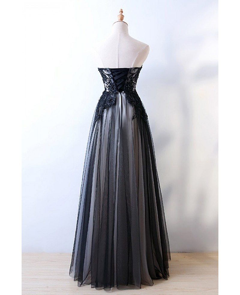 strapless sheath long black prom formal dress with corset