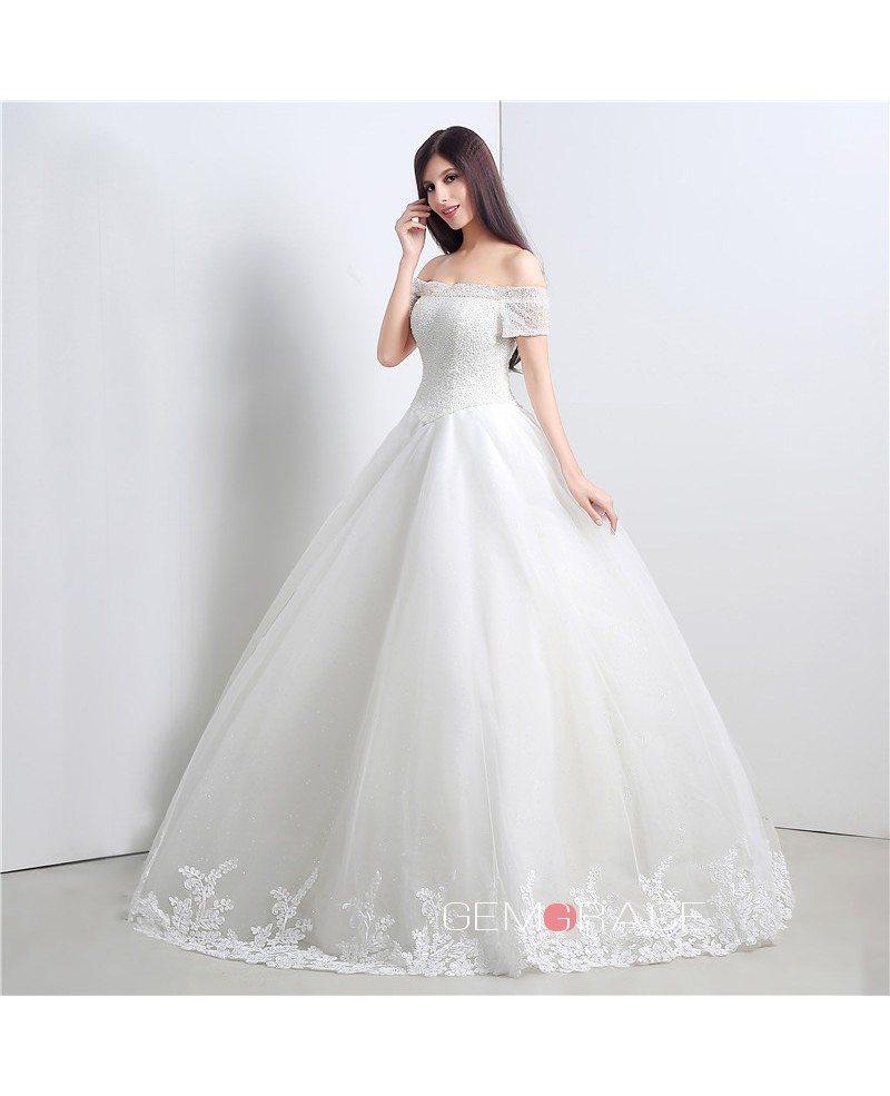 Ball gown off the shoulder short strap floor length for Wedding dresses short length