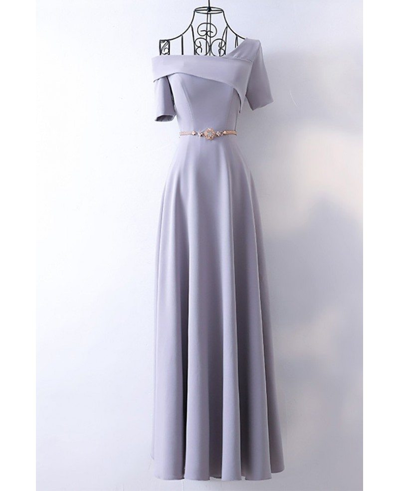 Classy Long Grey Formal Evening Dress With Asymmetrical Sleeves ...