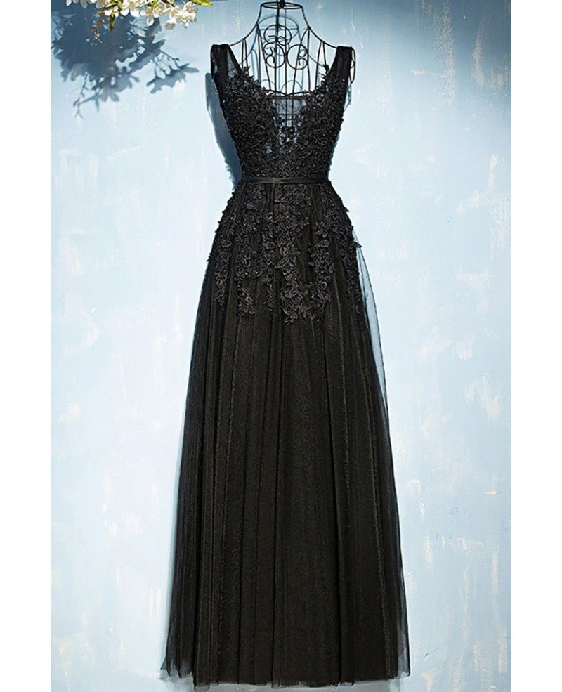 classic long black lace tulle prom dress vneck sleeveless