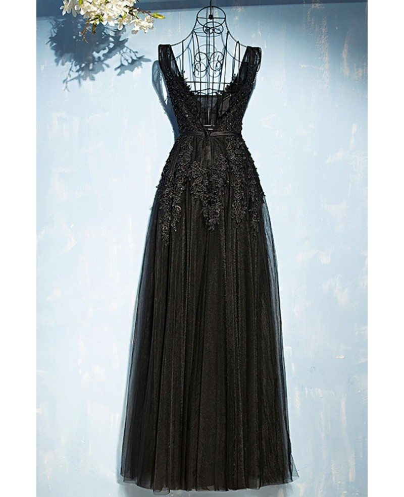 Classic Long Black Lace Tulle Prom Dress V-neck Sleeveless ...