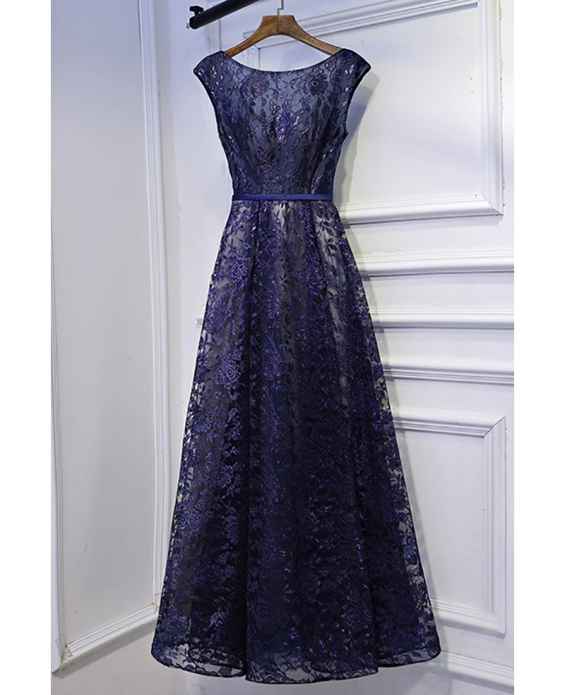 Modest Navy Blue Cap Sleeve Long Formal Dress Lace Myx18236