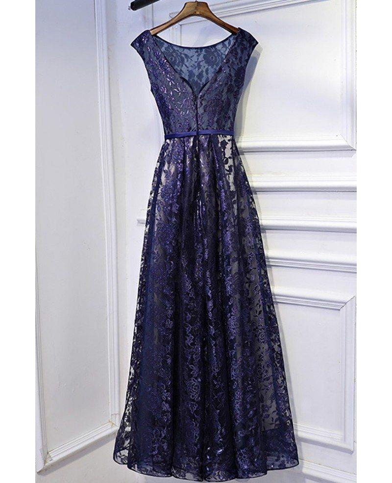 Modest Navy Blue Cap Sleeve Long Formal Dress Lace Myx18236