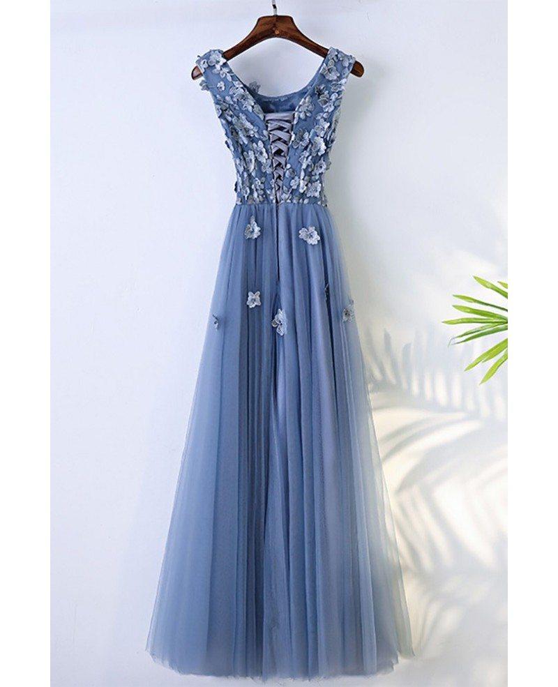 Trendy Dusty Blue Flowy Prom Dress Long With Flower Petals #MYX18243 ...