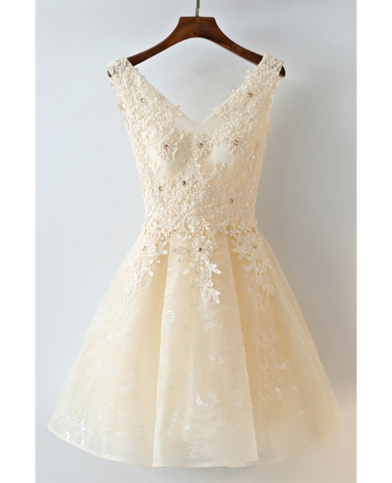 Gorgeous champagne short lace homecoming party dress for Champagne lace short wedding dress