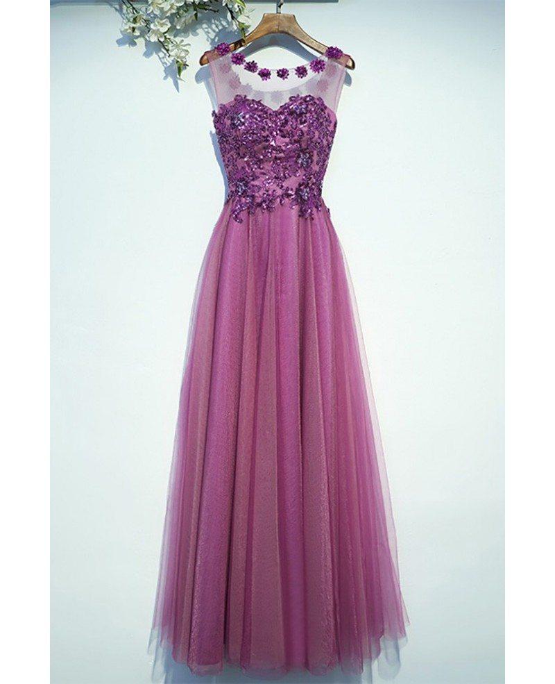 Purple Appliques A Line Cheap Prom Dress Long Sleeveless #MYX18247 ...