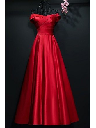 Simple A Line Satin Pleated Off Shoulder Formal Party Dress