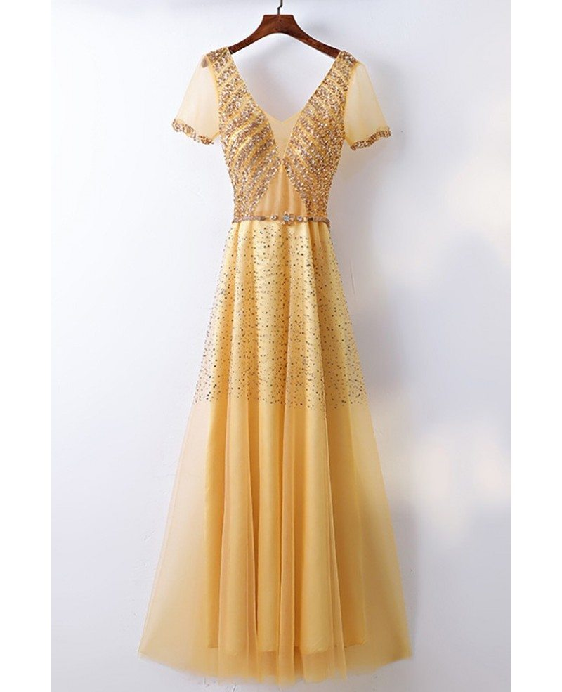 Bling blig sparkly gold formal prom dress with sleeves for Sparkly wedding dresses with sleeves