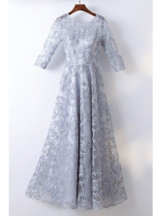 Modest Grey 3/4 Sleeve Lace Cheap Formal Dress