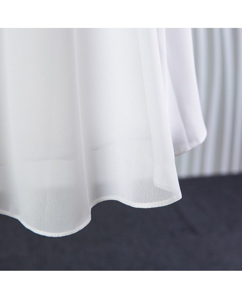 Simple short chiffon lace bridal dress for summer beach for Short chiffon wedding dress