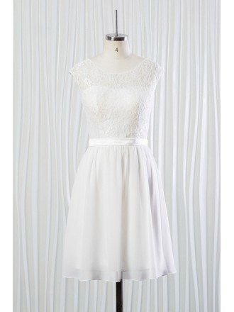 Simple Short Chiffon Lace Bridal Dress for Summer Beach Wedding