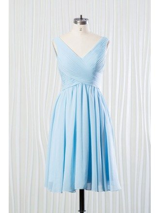 Elegant Short Chiffon Bridesmaid Dress Pleated In V-neck Sky Blue