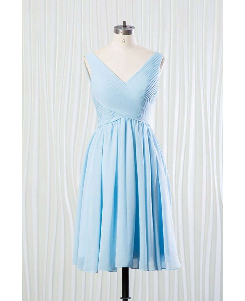 Elegant Short Chiffon Bridesmaid Dress Pleated In V Neck