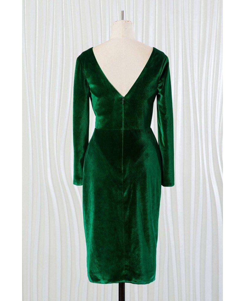 Dark Green Deep V Short Velvet Dress With Long Sleeves