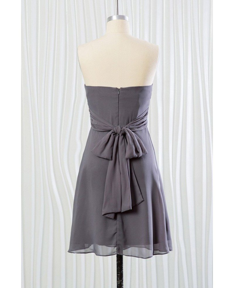 Strapless short grey bridesmaid dress in chiffon for for Strapless summer wedding dresses