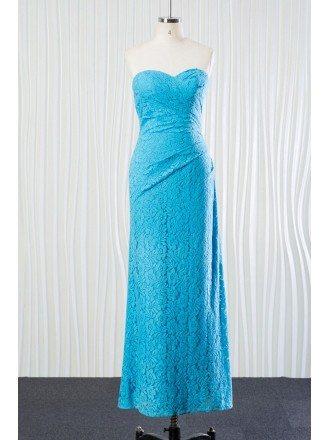 Unique All Lace Aqua Bridesmaid Dress Long In Sweetheart Neckline