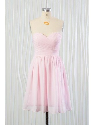 Simple Blush Pink Beach Bridesmaid Dress Short In Chiffon