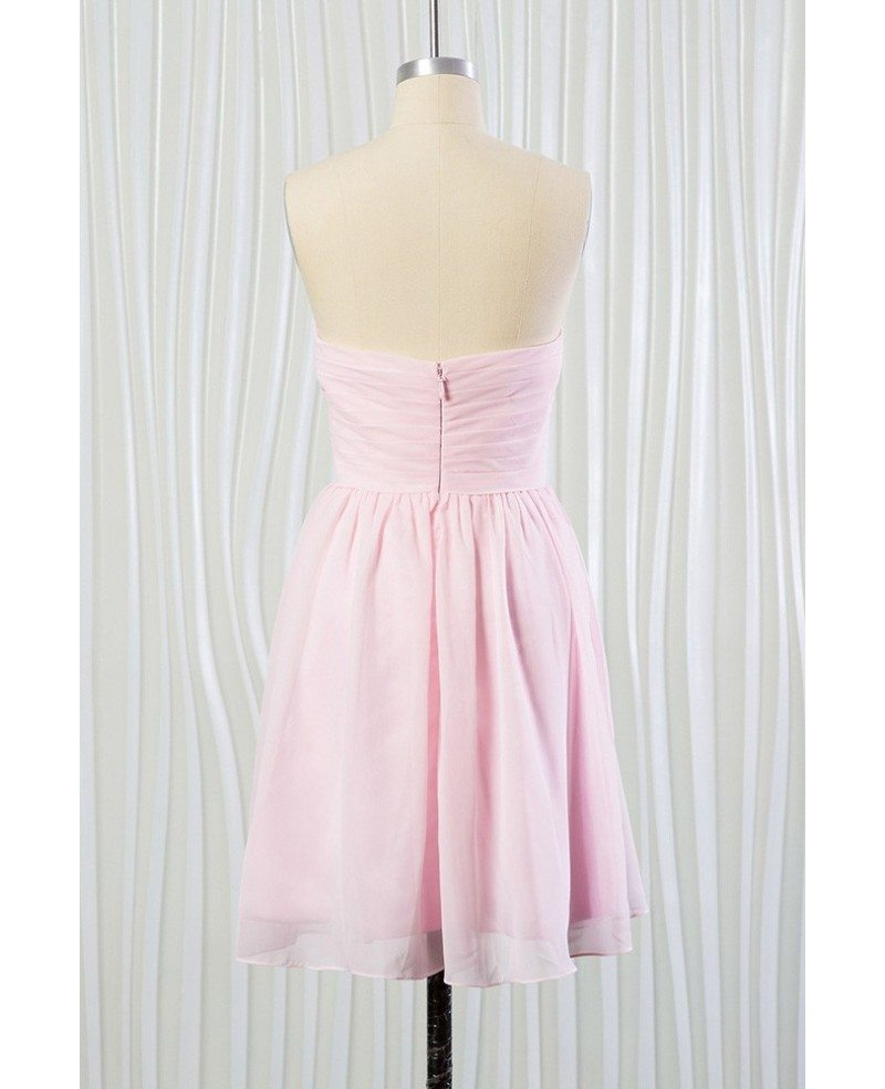 Simple blush pink beach bridesmaid dress short in chiffon for Simple pink wedding dress