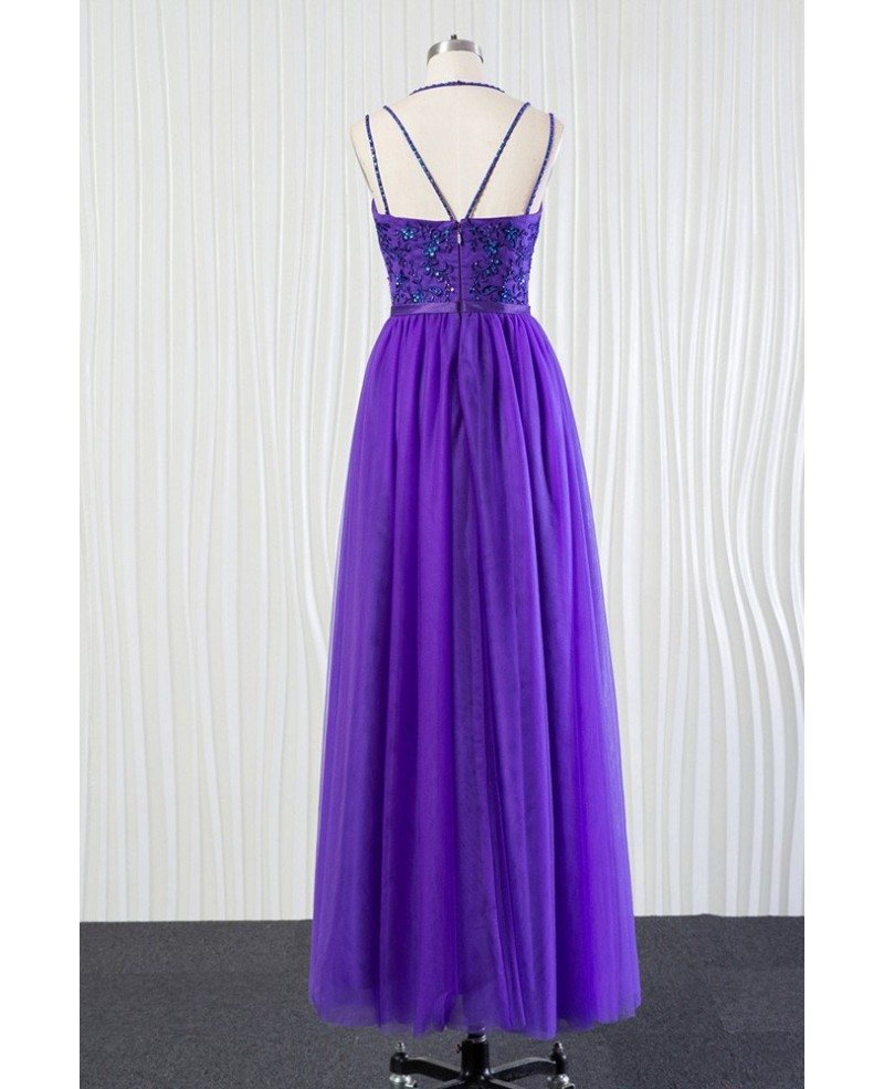 Long purple tulle bridesmaid dress beaded lace with speghatti straps long purple tulle bridesmaid dress beaded lace with speghatti straps ombrellifo Image collections
