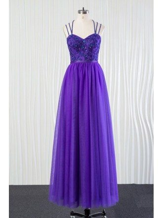 Long Purple Tulle Bridesmaid Dress Beaded Lace With Speghatti Straps