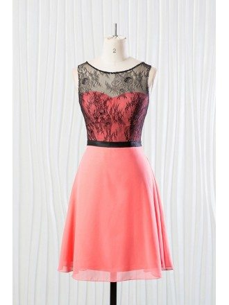 Short Coral Bridesmaid Dress With Black Lace for Summer Wedding