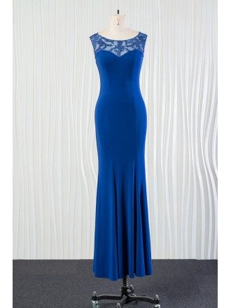Mermaid Fit Long Blue Bridesmaid Dress With Lace for 2018 Spring