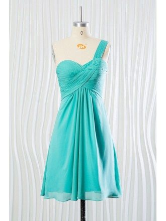 Turquoise bridesmaid dresses bridesmaid dresses turquoise color short teal chiffon bridesmaid dress one shoulder strap for 2018 summer junglespirit Gallery