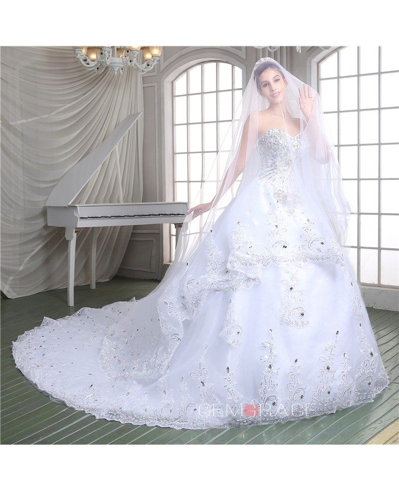 Cathedral Wedding Gowns: Ball-gown Sweetheart Cathedral Train Wedding Dress #C86115