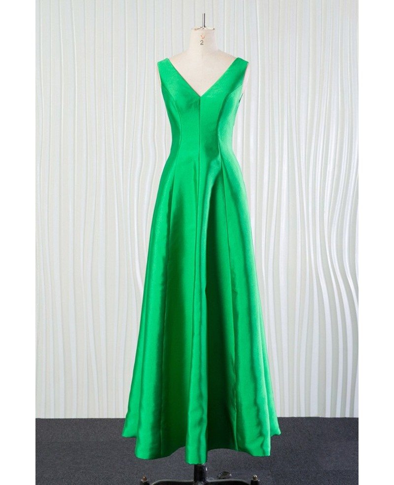 Simple long green bridesmaid dress in satin for spring fall 2018 ombrellifo Choice Image