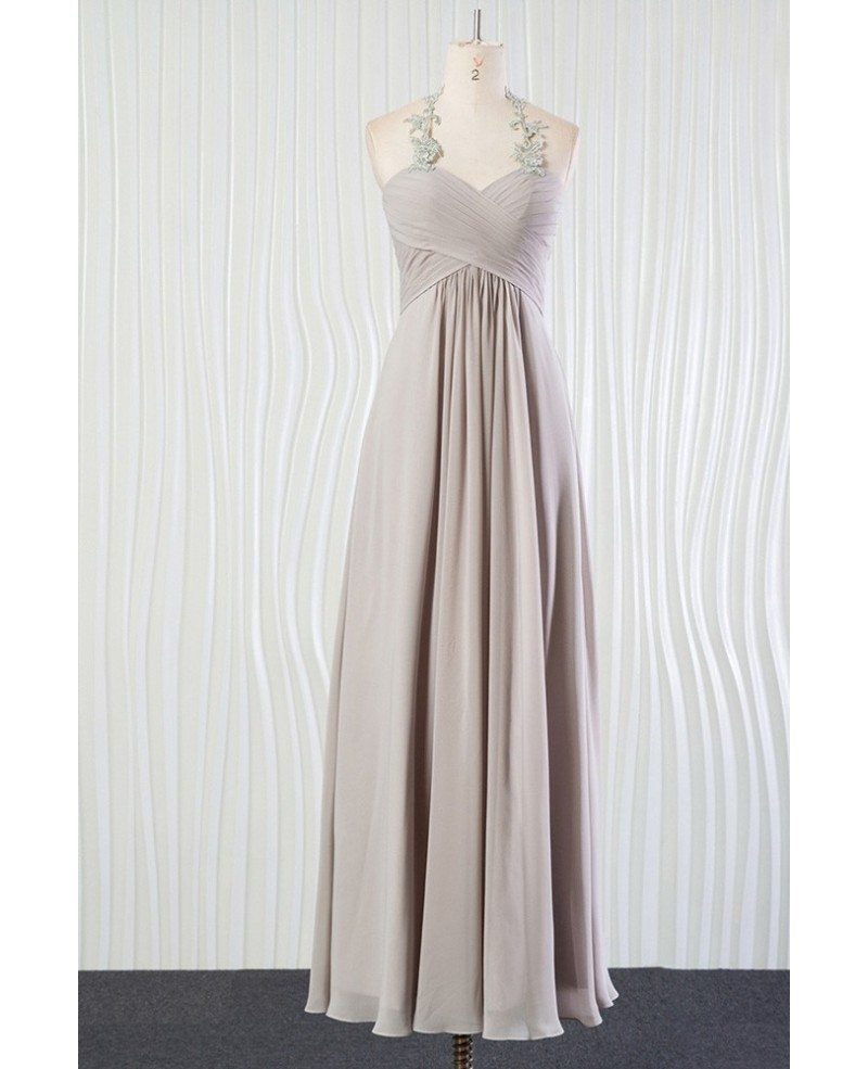 Vintage Silver Beach Bridesmaid Dress Long Halter With ...
