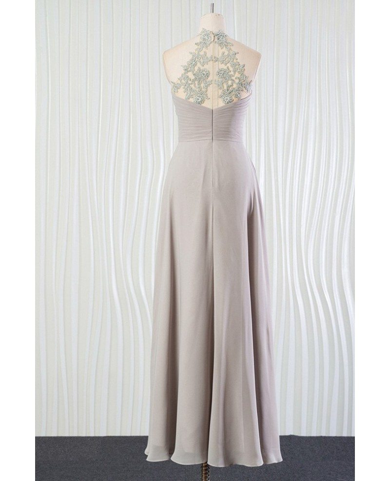 Silver Beach Wedding Dresses: Vintage Silver Beach Bridesmaid Dress Long Halter With