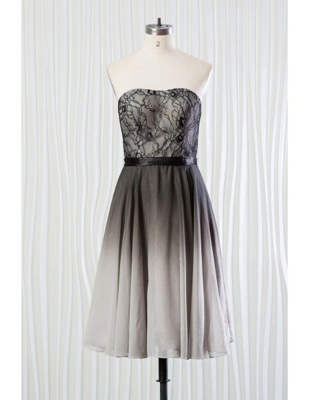 Ombre black and grey bridesmaid dress lace short for for Black and grey wedding dress