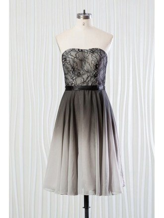 Ombre Black And Grey Bridesmaid Dress Lace Short for Weddings