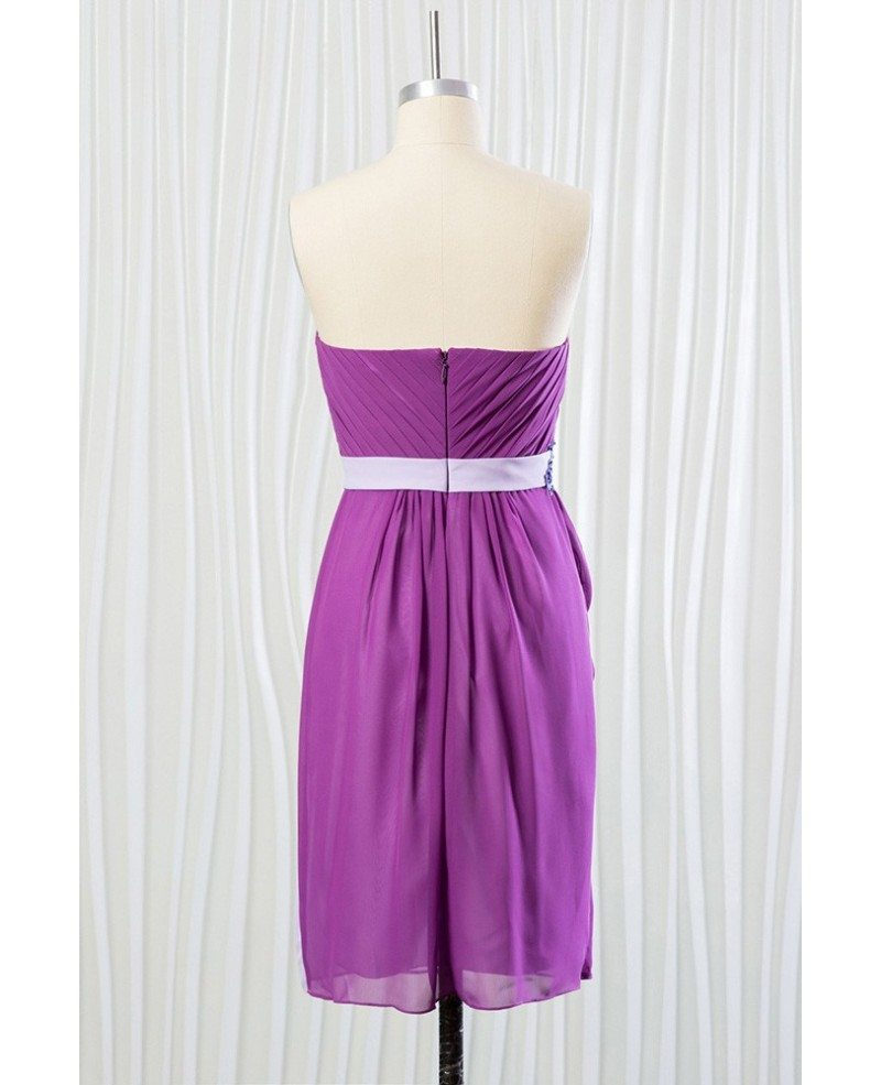 Short purple chiffon bridesmaid dress for summer beach for Purple summer dresses for weddings