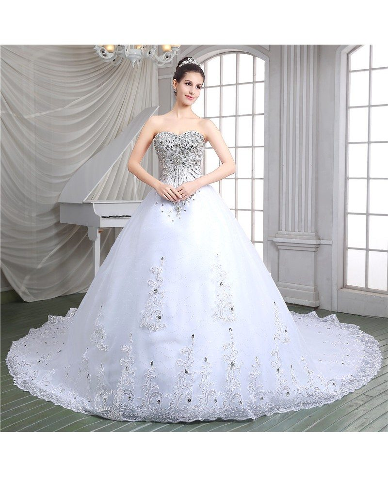 Ball-gown Sweetheart Cathedral Train Wedding Dress #C86115