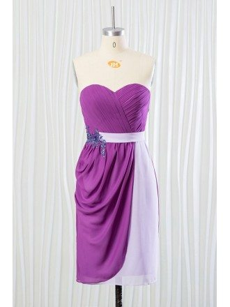 Short Purple Chiffon Bridesmaid Dress for Summer Beach Weddings