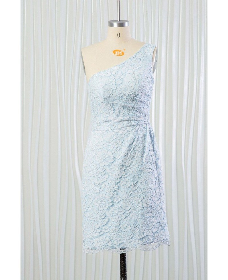 Light blue short lace bridesmaid dress one shoulder for for Light blue lace wedding dress