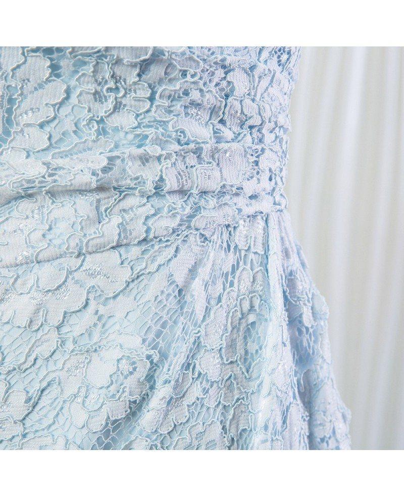 Light blue short lace bridesmaid dress one shoulder for for Blue short wedding dress