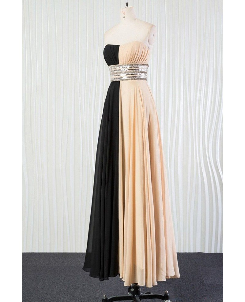 Champagne black sequin bridesmaid dress long for 2018 for Black wedding bridesmaid dresses