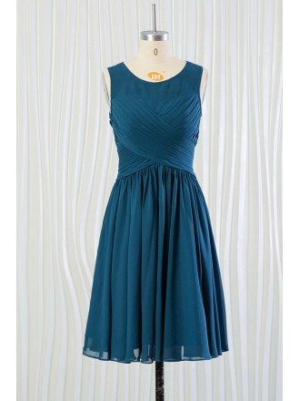 Cheap Short Teal Blue Bridesmaid Dress With Pleated Bodice