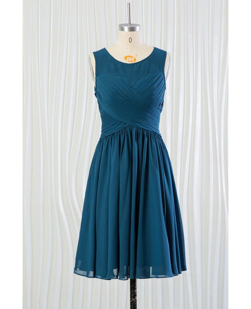 Cheap short teal blue bridesmaid dress with pleated bodice for Short blue wedding dresses